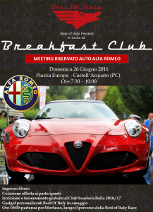 Best Of Italy Festival vi invita all Breakfast Club Meeting riservato auto Alfa Romeo 26 June 2016